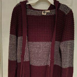 Roxy striped zip up knit hooded cardigan